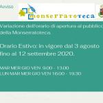 Avviso – Variazione orario di apertura della Monserratoteca